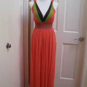 Coral Colored Maxi Dress with Vee Neck